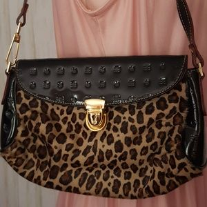 ARCADIA patent leather and leopard pony hair bag